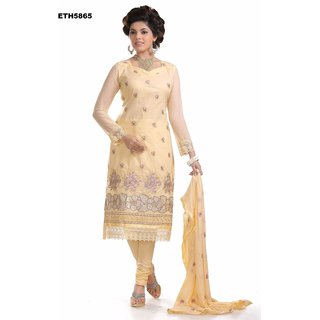 Light Yello Glaze Dress Material.