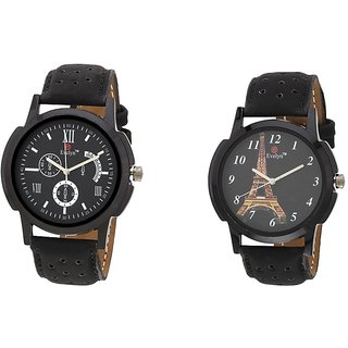 Evelyn Black Leather Analog Casual Watch - Combo Of 2 - EVE-279-289