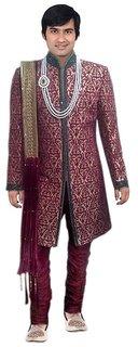 S.k. Taj Fahsion, wedding, amboardry, sherwani, maroon
