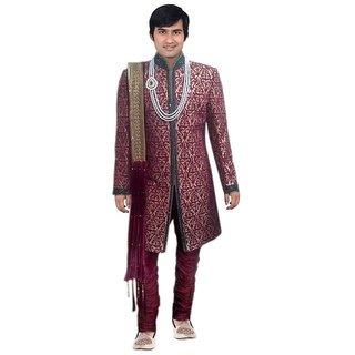 S.k. Taj Fahsion wedding amboardry sherwani maroon