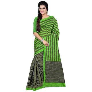 Sukuma Multicolor Dupion Silk Self Design Saree With Blouse