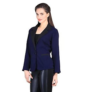 Sierra Women solid blue black color slim fit blazer