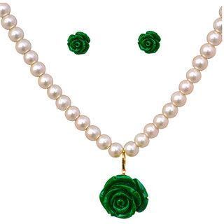 Classique Designer Jewellery Mesmerising Floral Pearl Necklace Set
