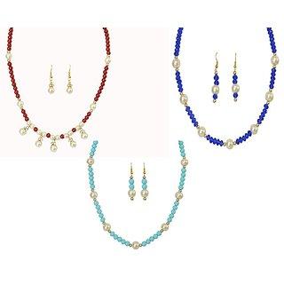 Classique Designer Jewellery Multicolour Pearl Necklace Set Pack Of 3