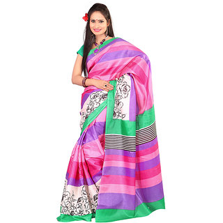 Kajal Sarees Multicolor Chiffon Printed Saree With Blouse