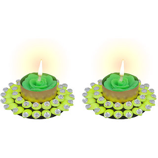 Sukkhi Fluorescent Green Diya Candle