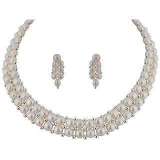 Classique Designer Jewellery Silver Toned Pearls Necklace Set