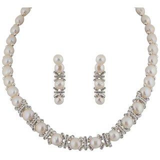 Classique Designer Jewellery White  Silver Pearl Necklace Set
