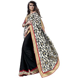 Lovely Look Latest collection of Sarees in Jacquard  Georgette Fabric  in Black  White Color