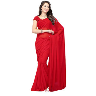 Lovely Look Latest collection of Plain Sarees Red Color