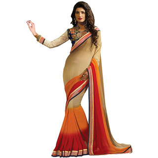 Lovely Look Latest collection of Sarees Beige  Orange Color
