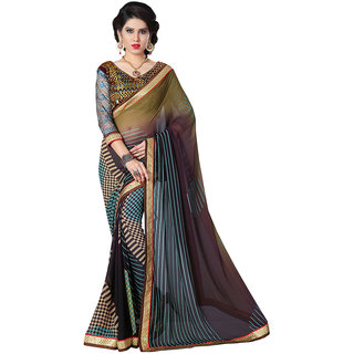 Lovely Look Multicolor Georgette Embroidered Saree With Blouse