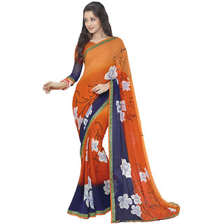 Lovely Look Orange  Blue Printed with Less Saree LLKBSM1512
