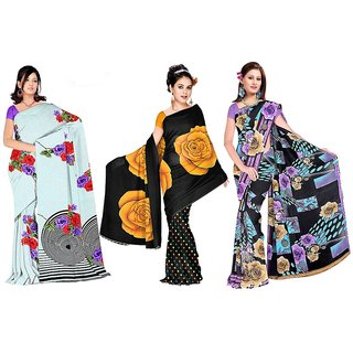 Lovely Look Off-White  Black  Purple Printed 3 piece Saree Combo LLKDAAN1001-08-15
