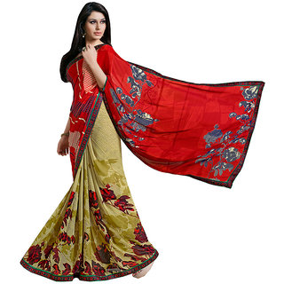 Lovely Look Red  Green Printed With Less Saree LLKKMB2550