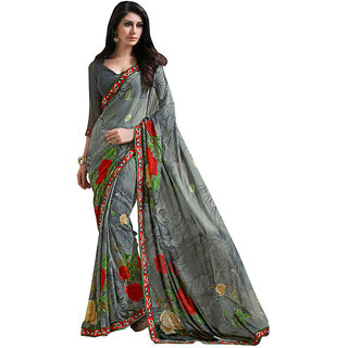 Lovely Look Grey Printed With Less Saree LLKKMB2562