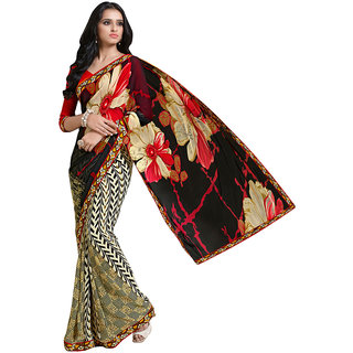 Lovely Look Multicolor Georgette Printed Saree With Blouse
