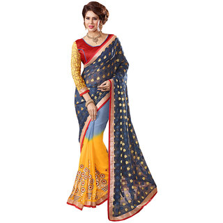 Lovely Look Latest collection of Sarees in Georgette  Jacquard Fabric  in Grey  Yellow Color