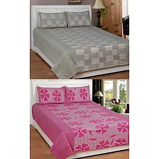 King'sway Set of 2 Beautiful Double Bedsheet With 4 Pillow Cover (f-pink chk-gre)