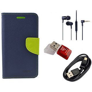 Romito Micromax Canvas Nitro A311 Diary With Flap Cover Mobile With Data Cable, Card Reader And Handfree- Blue
