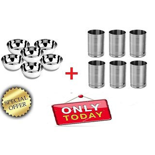 Stainless Steel Bowls ( Set of 6pcs ) +Stainless Steel 6 Pcs Glass