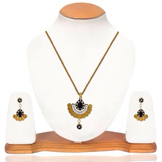 PENDANT EARRING SET WITH CHAIN-BLACK