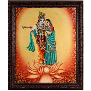 Azam Paintings of Radha and Krishna in Multicolour