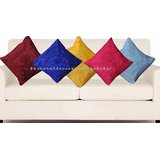 Handloomdaddy Multi Color Rose Design Cushion Cover(5 Pcs Set)11