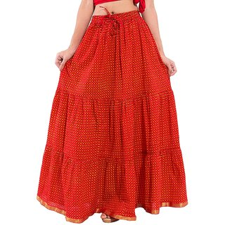 Decot Paradise Red Color Polka Dots Printed Long Skirt For Womens