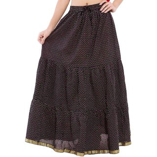 Decot Paradise Black Color Polka Dots Printed Long Skirt For Womens