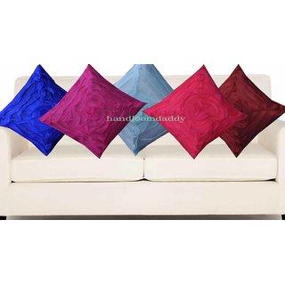 Handloomdaddy Multi Color Rose Design Cushion Cover(5 Pcs Set)13