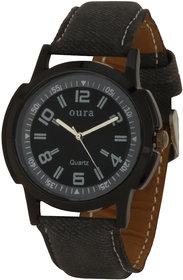 Oura Round Dial Black Fabric Strap Mens Quartz Watch