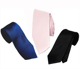 Ws Deal Men Plain Navy Blue Pink And Black Narrow Tie Microfibre (Pack Of Three)