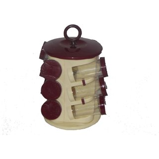 Maa enterprises12 jar revolving spice rack  Maroon