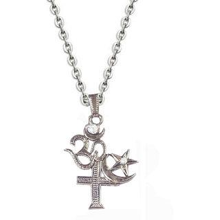 Men Style Silver Om santi Om   Fashion   Chain Pendant
