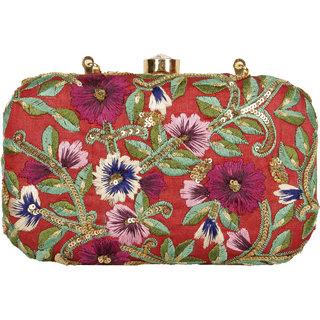 Lizzie Hand-Held Bag Brocade snap button clutch