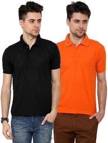 Grand Bear Men'S Orange  Black Polo  Neck T-Shirt (Pack Of 2)