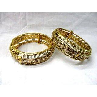 Antique Design Gold Plated  White Pearl Bangle Indian Women Bangle Fashion Jewe