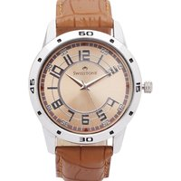 Swisstone Brown Leather Strap Analog Watch For Men/Boys-ST-GR005-BRW-BRW