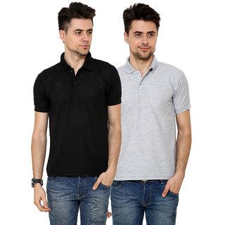 Grand Bear Men'S Grey & Black Polo  Neck T-Shirt (Pack Of 2)