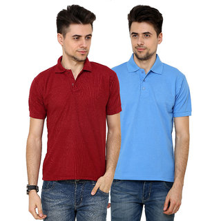 Grand Bear Men'S Maroon  Sky Blue Polo Neck T-Shirt (Pack Of 2)