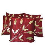 Leaves Patch Cushion Cover Red 30/30 Cm (5 Pcs Set)