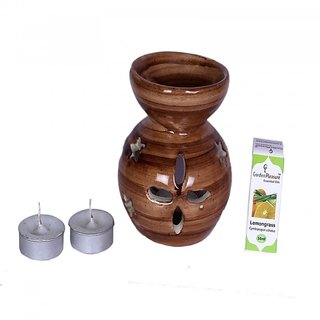 Garden Pleasure Brown Candle Aroma Oil Diffuser with Lemongrass Essential Oil
