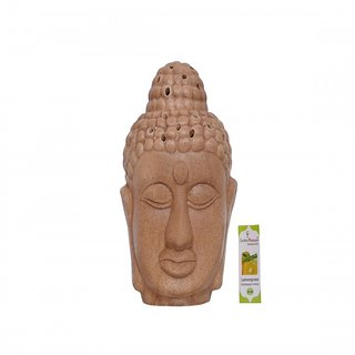 Garden Pleasure Lord Buddha Candle Aroma Oil Diffuser Brown with Lemongrass Oil