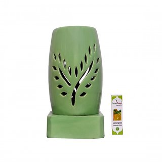 Garden Pleasure Electric Aroma Diffuser Green Oval Design with Lemongrass Oil