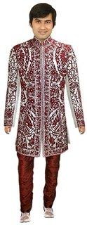Wedding Designer Maroon and White Sherwani