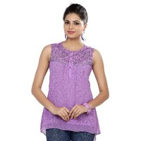 Soie Purple Solid Sleeveless Womens Top