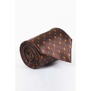 ST MARCR Brown Silk Printed Tie (SK52285627)