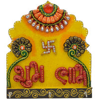 Wooden  Paper Mache Shubh-Labh  3 Key Holder With Kundan Work