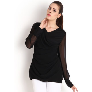 Soie Black Solid Full Womens Ruffeld top